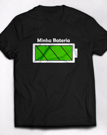 Camiseta Infantil Bateria Sempre Cheia