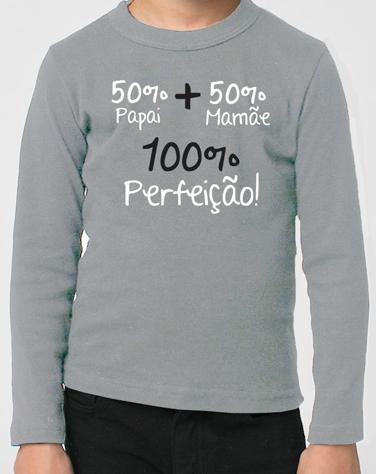 Camiseta Infantil de Manga Comprida 100% Perfeição