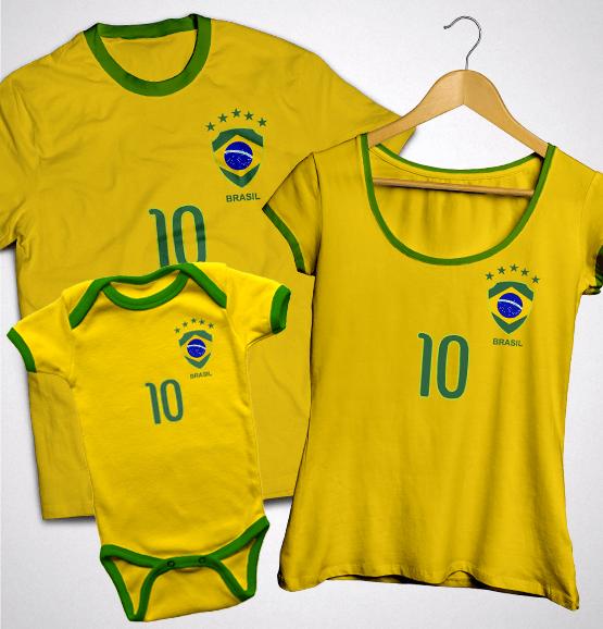 Kit Família Torcida Brasil (Camiseta Adulto + Bata + Body)