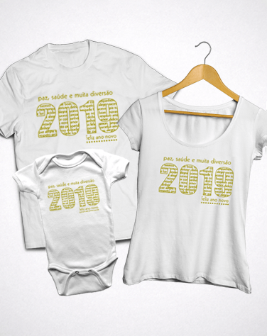Kit Família Reveillon 2018 (Camiseta Adulto + Bata + Body)