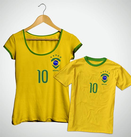 Tal Mãe, Tal Filho(a) ... Torcida Brasil (Bata + Camiseta Infantil)