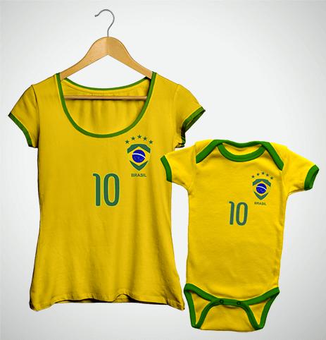 Tal Mãe, Tal Filho(a) ... Torcida Brasil (Bata + Body)
