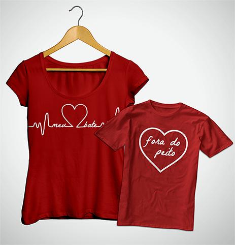 Tal Mãe, Tal Filho ... Coração Fora do Peito (Bata + Camiseta)