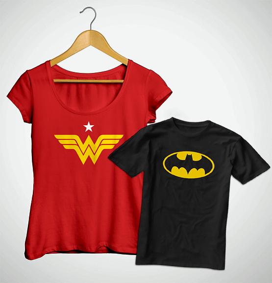 Tal Mãe, Tal Filho ... Bata Mulher Mavilha + Camiseta Infantil Batman