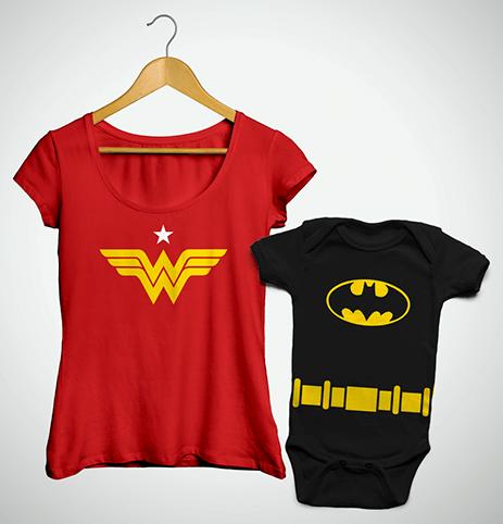 Tal Mãe, Tal Filho ... Bata Mulher Maravilha + Body Batman