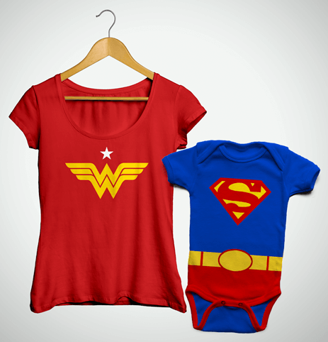 Tal Mãe, Tal Filho ... Bata Mulher Maravilha + Body Superman
