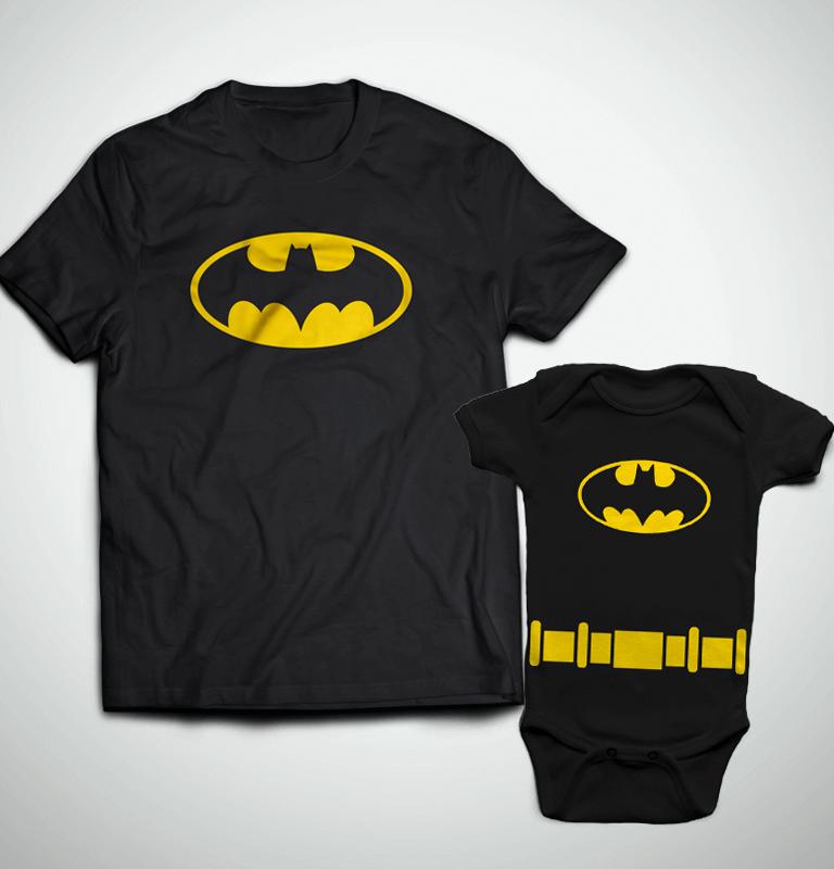5996296942d212 Tal Pai, Tal Filho ... Camiseta Adulto Batman + Body Batman