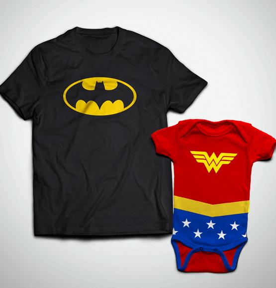 Tal Pai, Tal Filha ... Camiseta Adulto Batman + Body Mulher Maravilha