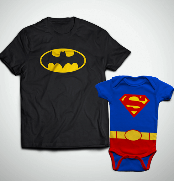 Tal Pai, Tal Filho ... Camiseta Adulto Batman + Body Superman