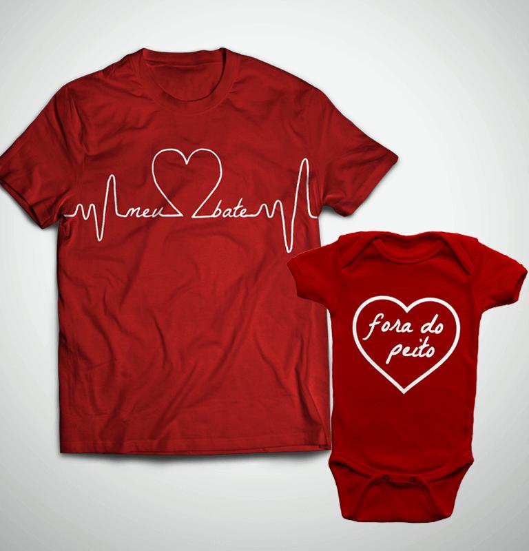 656e7c0b50aa → Tal Pai, Tal Filho ... Coração Fora do Peito (Camiseta + Body)